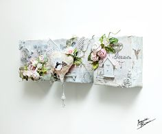 shabby chic birdhouses | Ingvild Bolme: 3 of Love - small altered canvases