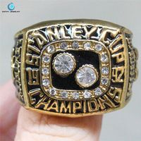 1991--1992 Pittsburgh Penguins Stanley Cup championship ring Black Enamel Crystal Rhinestone gold Pleated Ring Men Jewelry