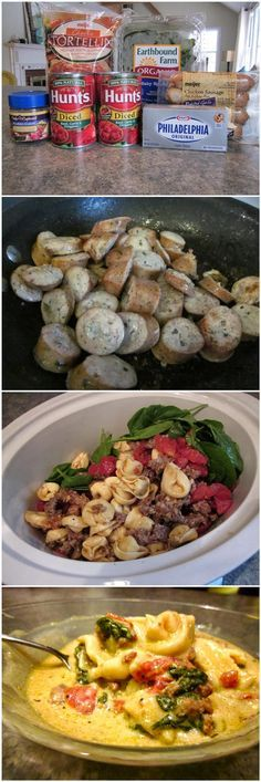 Red Star Recipe: Crockpot Cheese Tortellini      1 (19oz) bag of frozen cheese tortellini      1 small bag of fresh spinach (I used about half of a 5 oz package, but more is better!)     2 (14.5 oz) cans of Italian style diced tomatoes, drained     1 block (8 oz) of cream cheese or neufchatel (less fat)     1 lb. of ground sausage or chicken/turkey sausage     4 cups of chicken broth