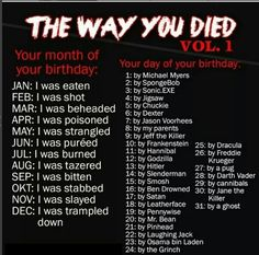 How the fuck do I get eaten by a ghost? 😂 There is no logic here!I was stabbed by Leatherface That's the second one to give me Leatherface. Scary Names, Funny Names, Cool Names, Funny Name Generator, Oc Generator, Creepypasta Names, What Is My Name, Birthday Scenario Game, Birthday Games