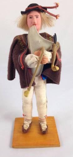 Vtg-Krakow-Poland-Doll-Pipe-Player-Hand-Painted-Polish-Folk-Art-Label