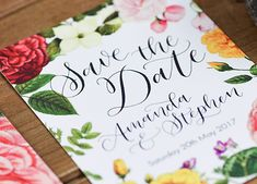 """Here we have my favourite range within my """"house"""" wedding stationery ranges. Calligraphy and florals is an unbeatable combination"""