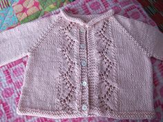 Knit Vine Lace Baby Cardigan Sweater by Kasia Lubinska - free pattern