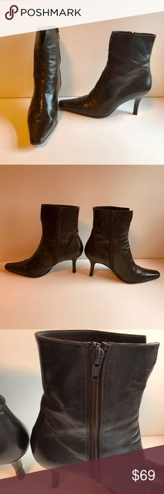 Stuart Weitzman Brown Leather Ankle Boots Stuart Weitzman brown leather ankle boots with side zip. Some wear on heels (see pix) and price reflects as such. Comes with original dust bag. Please let me know if you need more pix or have any questions. All of my items come from a smoke/pet free home. I'm ready to get rid of everything so please make me an offer. Or better yet, bundle it, save more! Stuart Weitzman Shoes Ankle Boots & Booties