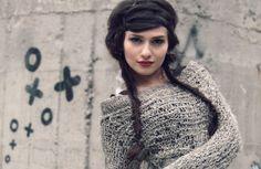 grunge sweater/ hipster clothing / avant garde sweater  / pastel grunge / grau taupe / oatmeal