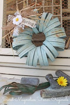 """New for Spring 2014″ Sky Blue Canning Jar Lids Wreath ~ ""One of a Kind"" Farmhouse Charm by SweetMagnoliasFarm, SOLD to a Good Home !"