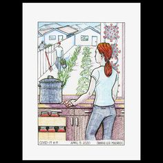 Covid 19#19. Talk around disruptions in supply chains and farm labour bringing higher food prices had me wondering if the victory garden would make a return to suburban back yards. Original is SOLD, msg me about prints. Www.onelifefineart.com. #covid19art #coronavirusart #drawing #yycartist #victorygarden