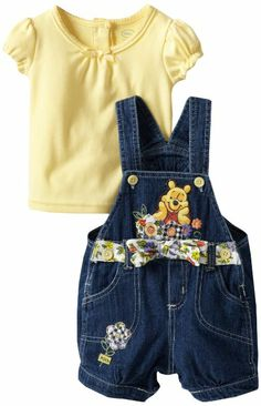 Amazon.com: Disney Baby-girls Infant 2 Piece Knit Pullover and Shortall, Yellow, 18 Months: Clothing