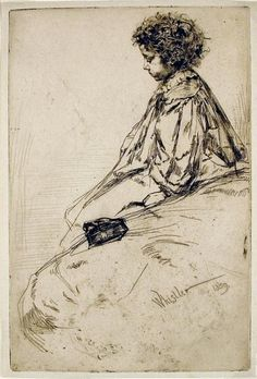 A Whistler etching I fell in love with. The expression on the child Bibi is precious.