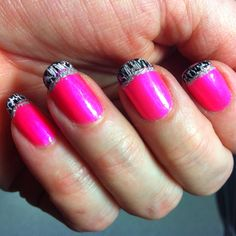Fun nails!! *cover nail w/ hot pink, paint tips white, apply thin coat of black crackle over white tips, then stripe with silver sparkle.