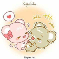 Me encantaaan Cute Couple Cartoon, Cute Cartoon Pictures, Cute Love Pictures, Cute Love Cartoons, Cute Images, Chibi Cat, Cute Chibi, Bear Emoticon, Sugar Bears