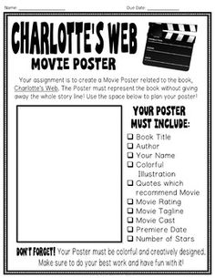 Charlotte's Web Project: Create a Movie... by HappyTeacherHappyStudents   Teachers Pay Teachers