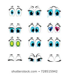 """Immagini, foto stock e grafica vettoriale a tema """"cartoon Eyes"""" Cartoon Faces Expressions, Flower Pot People, Eye Painting, Digital Stamps, Doll Face, Cartoon Drawings, Rock Art, Painted Rocks, Character Design"""