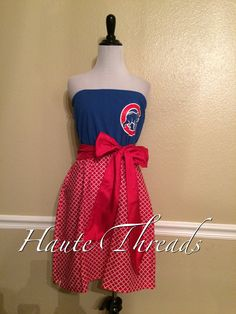 Chicago Cubs MLB Tube Strapless Gameday Baseball Dress with Red Sash Bow - Medium size 6 8 by hautethreadsboutique on Etsy