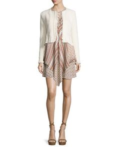 Chevron+Fringe+Cropped+Jacket+&+Sleeveless+Mitered+Multipattern+Dress+by+10+Crosby+Derek+Lam+at+Bergdorf+Goodman.