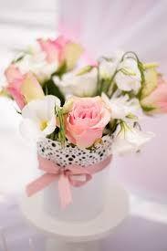 Blumen im Teelicht/Blumentopf von Ikea, verfeinert mit Schleifenband