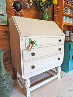 Cute Art Deco Writing Bureau Painted in Farrow & Ball Estate Eggshell in James White. Distressed Shabby Chic @Thelittleshopofvintage