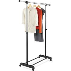 Honey-Can-Do Expandable Garment Rack ($23) ❤ liked on Polyvore featuring home, home improvement and black