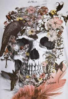 skull, crow, butterfly, feather, hummingbird, flowers, cross, pastels, black and white,