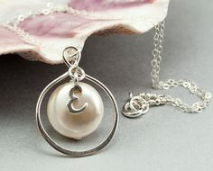 Personalized Infinity Necklace with Swarovski Pearl and Sterling Silver Initial