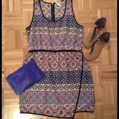 BAR III Dress Bar III tank dress. Blue and Orange print. Zipper back. Banded waist. Lined.  Excellent condition. XXL fits like a size 12 Bar III Dresses