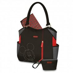 Grab and friend and go with the Mickey Mouse black, grey and red diaper tote, featuring an embroidered Mickey Mouse in grey. The bag includes a changer and wristlet, with multiple pockets, including an inside zip pocket. The inside lining and changer easily wipe clean.