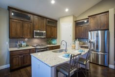 """Kitchen from the """"Yale"""" floor plan at Yeager Farm - New Homes in Longmont, CO   Henry Walker"""
