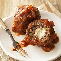 Greek Stuffed Meatballs Kasseri (kuh-SEHR-ee) are salty, sharp cheese doused with ouzo, a Greek liqueur, and lit on fire at Greek restaurants. Find them nestled inside these Mediterranean meatballs. Opa!