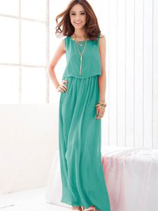 Attractive Sleeveless Chiffon Womens Maxi Dress