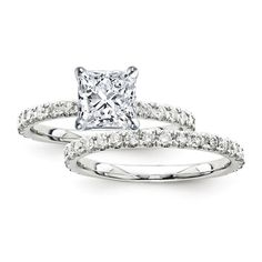14K White Gold Certified 2.70 Ct. Princess Diamond Bridal #Engagement #Ring Set with Side Stones