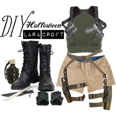 A fashion look from October 2015 by s-dot-s featuring Onzie, UNIONBAY, Nature Breeze et diycostume Cute Couple Halloween Costumes, Best Couples Costumes, Trendy Halloween, Halloween Outfits, Diy Halloween, Laura Croft Costume, Lara Croft Halloween Costume, Lara Croft Outfit, Tomb Raider Costume