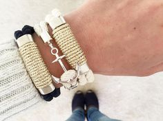 Nautical Rope Bracelet / Metallic Silver by AllisonColeJewelry