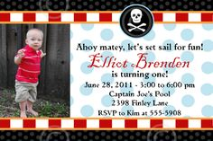 Pirate Stripe Printable Photo Invitation Custom Birthday Party Baby Shower Invite DIY Announcement by BeeAndDaisy. $12.00, via Etsy.