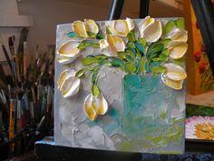 Original Painting Impasto White Tulips by IronsideImpastos