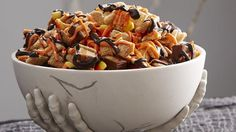 Halloween Zombie Chex Mix® - Vanilla Chex & Cinnamon Chex cereals, chopped Halloween Candy, candy corn, orange or red candy melts, chocolate candy melts & canola oil. Can be made Gluten Free! Chex Mix Recipes, Fall Recipes, Holiday Recipes, Dog Food Recipes, Snack Recipes, Cooking Recipes, Holiday Treats, Holiday Foods, Fondue Recipes