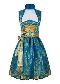 Dirndl Couture Sari Antoinette türkis gold mit Swarovskisteinen von Anina W mit Dirndlblusen, Tracht, Miedern, Charivaris, Tüchern bei Anina W online kaufen