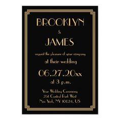 Tiny Great Gatsby Art Deco Black Wedding Invites