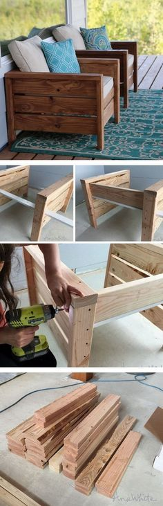 Check out the tutorial how to make DIY wooden modern chairs for home decor #outdoor #deck #ideas