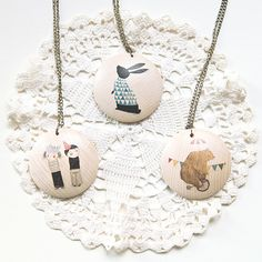 Image of Illustrated wooden necklace
