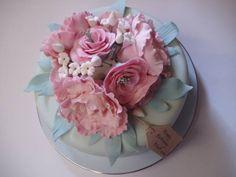 Pink peonies  roses birthday cake. Eucalyptus green fondant, white jasmine. Vintage plate by the Handmade Cake Company