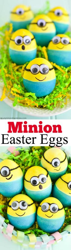 Dyed Minion Easter Eggs from A Pumpkin and a Princess are such a fun idea!