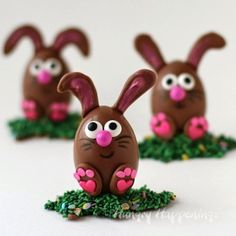 Chocolate Easter Egg Bunnies filled with Peanut Butter Fudge