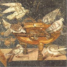 Pompeii: Fresco, House of the Mosaic Doves Ancient Pompeii, Pompeii And Herculaneum, Roman History, Art History, Art Romain, Décor Antique, Byzantine Art, Roman Art, Classical Art