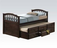 San Marino Dark Walnut Wood Full Captain Bed