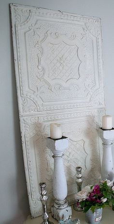 painted tin ceiling tiles, table legs as candle holders. Decor, Shabby Chic Decor, Decor Design, Tin Tiles, Home Decor, Ceiling Tiles, Indoor Decor, Painted Tin Ceiling Tiles, Tile Crafts