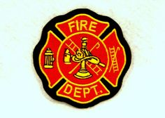 Fire Dept Yellow and red on black Small Badge Patch for Biker Vest SB759  #sturgismidwestinc