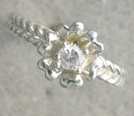 New Genuine Diamond Floral Promise Solitaire Ring 10kt White / Yellow Gold SIZE 3-10, $239