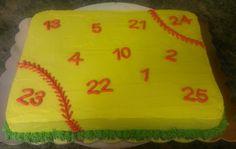 sheet cake, softball cake, softball team sheet cake. Check out Carolina Cuppie Cakes on Facebook!