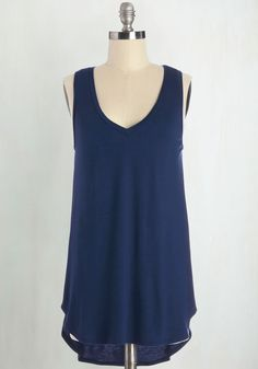 Endless Possibilities Top in Navy - Jersey, Knit, Blue, Solid, Casual, Minimal, Sleeveless, Spring, Summer, Good, V Neck, Blue, Sleeveless, Long, Best Seller, Athletic, Top Rated