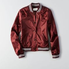 Silky fabric Easy classic fit Full snap button front Slant pockets Ribbed cuffs & hem Iconic stripe detail at neck cuffs & hem American Eagle Outfitters Red Bomber Jacket, Maroon Jacket, Bomber Jackets, Outerwear Jackets, Red Hood, Rachel Amber, Colleen Wing, Harley Quinn, Andi Mack